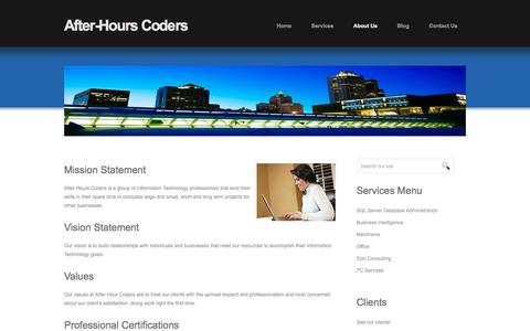 Screenshot of About Page afterhourscoders.com - Welcome to AfterHoursCoders.com - IT professionals by day, hired coders by night! SQL Server DBA, Business Intelligence and Reporting Consulting Services - captured Nov. 20, 2016