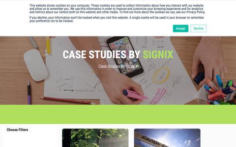 Screenshot of Case Studies Page signix.com captured July 12, 2018