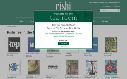 Screenshot of Press Page rishi-tea.com - Organic Tea, Green Tea & Loose Leaf Tea | Rishi-Tea.com - captured Sept. 7, 2017
