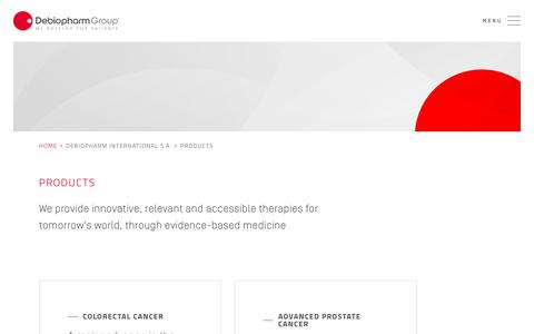 Screenshot of Products Page debiopharm.com - Products | Debiopharm Group - captured Oct. 7, 2018