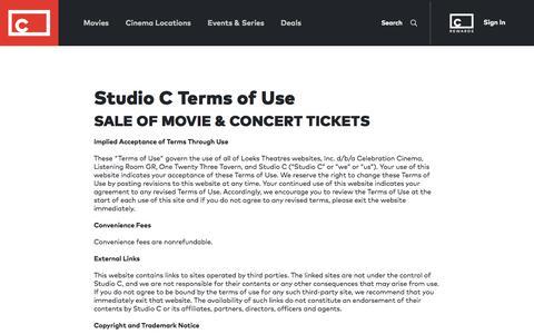 Screenshot of Terms Page celebrationcinema.com - Studio C Terms of Use - captured Jan. 12, 2020