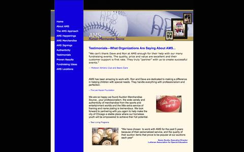Screenshot of Testimonials Page amshelpspeople.com - AMS Auction Merchandise Source - captured Oct. 4, 2014