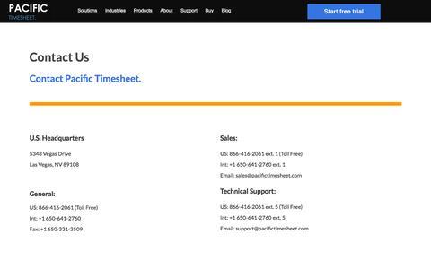 Screenshot of Contact Page pacifictimesheet.com - Contact - captured July 15, 2018