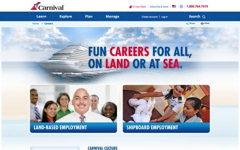 Screenshot of Jobs Page carnival.com - Cruise Ship Jobs | Carnival Cruise Jobs | Carnival Cruise Lines - captured Sept. 18, 2014