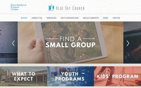 Screenshot of Home Page blueskychurch.com - Blue Sky Church: Bellevue, WA - captured Oct. 8, 2015