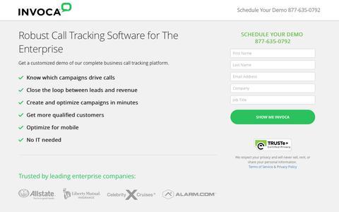 Screenshot of Landing Page invoca.com - Call Tracking Demo | Invoca - captured Sept. 7, 2017