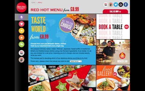 Screenshot of Menu Page redhotworldbuffet.com - Taste around the world. All you can choose - Red Hot World Buffet - captured Oct. 9, 2014