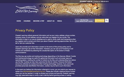 Screenshot of Privacy Page cheetahlearning.com - Privacy Policy   Cheetah - captured Oct. 28, 2014
