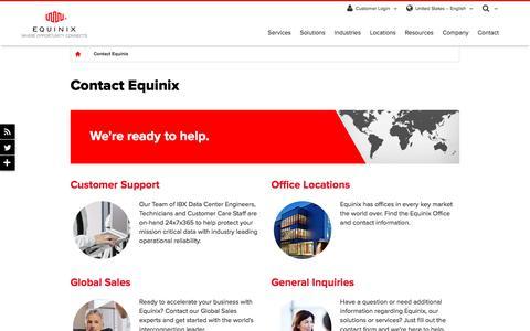 Screenshot of Contact Page equinix.com - Contact Equinix - Equinix Global Contact Informaton - captured Oct. 4, 2017