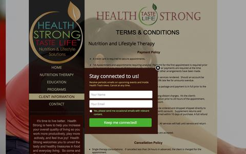 Screenshot of Terms Page livinghealthstrong.com - Nutrition and Lifestyle Therapy - captured Nov. 5, 2016
