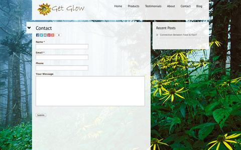 Screenshot of Contact Page getglow.com - Contact  | Get Glow - captured Oct. 28, 2014