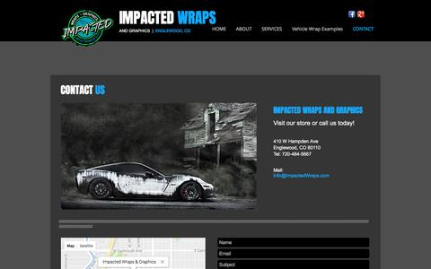 Screenshot of Contact Page impactedwraps.com - Impacted Wraps & Graphics | Denver Vehicle Wraps - captured March 15, 2017