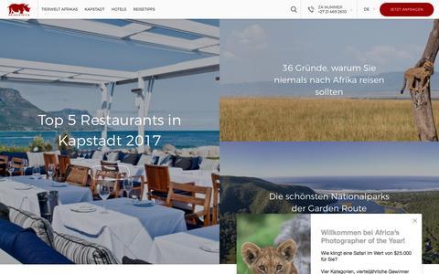 Screenshot of Blog rhinoafrica.com - Rhino Africa Blog - Interessante Artikel und Wissenswertes von Afrikas führenden Reiseexperten - captured April 2, 2017