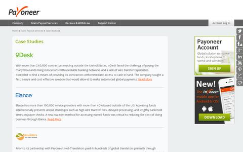Screenshot of Case Studies Page payoneer.com - Case Studies - Payoneer - captured July 18, 2014
