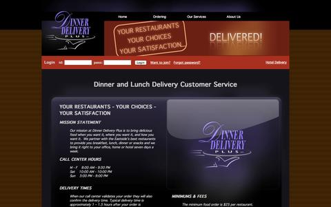 Screenshot of Support Page dinnerdeliveryplus.com - Dinner and Lunch Delivery Customer Service - Dinner Delivery Plus - captured Sept. 30, 2014
