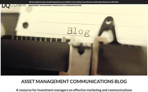 Screenshot of Blog dqcomm.com - Blog — DQCOMM - Investment Management Marketing and Communications - captured Oct. 7, 2018