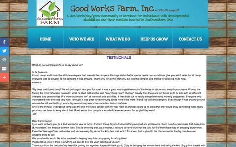 Screenshot of Testimonials Page goodworksfarm.org - TESTIMONIALS - captured Aug. 28, 2017