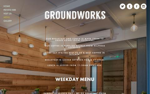 Screenshot of Menu Page thegroundworks.co.uk - Menu Ń THE GROUNDWORKS - captured Dec. 13, 2015