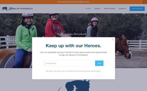 Screenshot of Home Page heroesonhorseback.org - Heroes on Horseback - captured Nov. 5, 2018