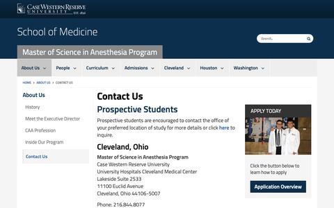 Screenshot of Contact Page case.edu - Contact Us | Master of Science in Anesthesia Program | School of Medicine | Case Western Reserve University | Case Western Reserve University - captured Oct. 25, 2018