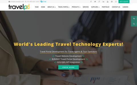 Screenshot of Home Page travelpd.com - Travel Technology Company, Travel Portal Development Services - captured July 6, 2018