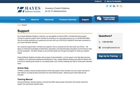 Screenshot of Support Page hayessoft.com - Support - Hayes Software - captured Oct. 2, 2014
