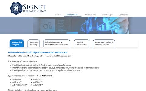 Screenshot of Products Page signetresearch.com - Signet Research, Inc. - What We Do - captured Feb. 14, 2016
