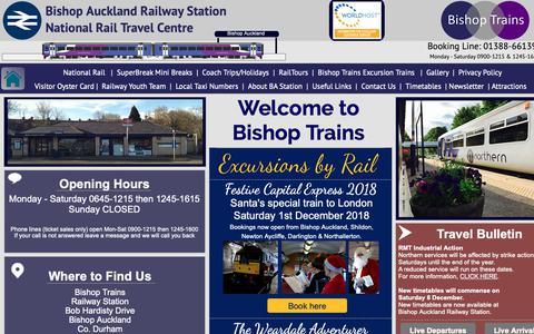 Screenshot of Home Page ba-rail.co.uk - Home - Bishop Auckland Railway Station - captured Nov. 23, 2018
