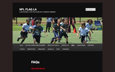 Screenshot of FAQ Page nflflagla.com - FAQs | NFL FLAG LA - captured Oct. 26, 2014