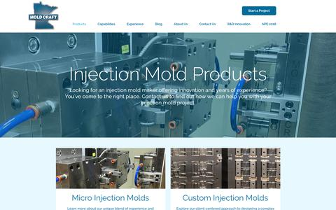Screenshot of Products Page mold-craft.com - Mold Craft Products | Perfection-Driven Injection Mold Manufacturing - captured Oct. 18, 2018
