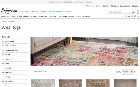 Screenshot of Products Page nourison.com - Area Rugs - captured May 4, 2019