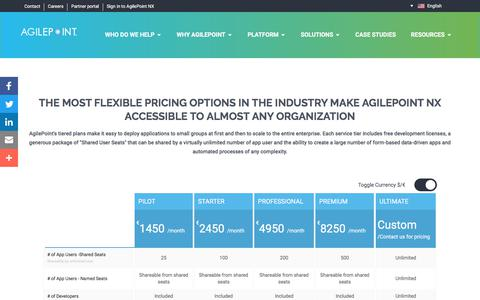 Screenshot of Pricing Page agilepoint.com - Pricing Table - AgilePoint - captured Aug. 16, 2019