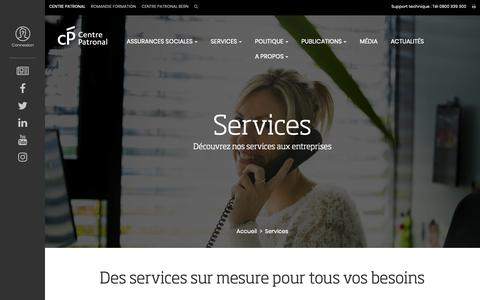 Screenshot of Services Page centrepatronal.ch - Le Centre Patronal au service des entreprises en Suisse - captured Nov. 4, 2018