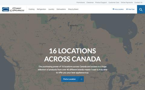 Screenshot of Locations Page coastappliances.com - Find an Appliance Store in Your Area | Coast Appliances - captured Sept. 23, 2018
