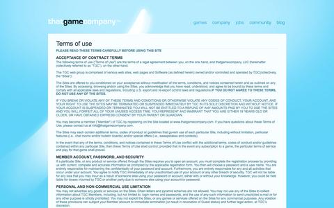 Screenshot of Terms Page thatgamecompany.com - thatgamecompany | TGC   » Terms of use - captured June 17, 2015