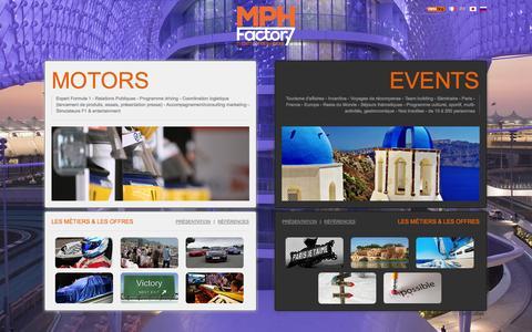 Screenshot of Home Page mphfactory.com - MPH Factory - Agence événementielle à paris, Events & Fresh Ideas ! - captured Sept. 30, 2014