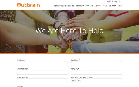 Screenshot of Contact Page outbrain.com - Contact Us And Get Started | Outbrain.com - captured Nov. 3, 2016