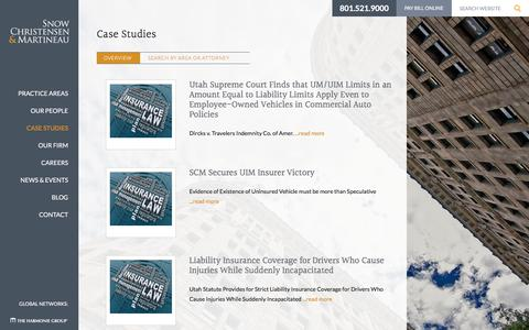 Screenshot of Case Studies Page scmlaw.com - Case Studies | Snow Christensen & Martineau - Utah Law Firm - captured Nov. 2, 2017