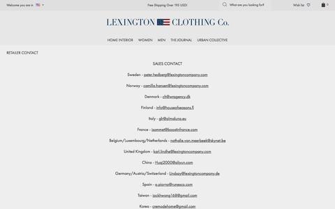 Screenshot of Press Page lexingtoncompany.com - Retailer Contact - Lexington Company - captured Nov. 7, 2016