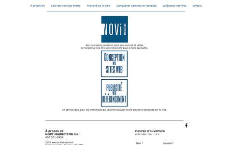 Screenshot of Home Page novimarketing.ca - Agence web|Saint-Hyacinthe|Novi Marketing - captured Oct. 20, 2018