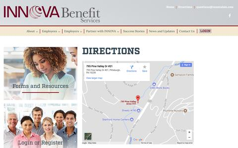Screenshot of Maps & Directions Page innovaben.com - Directions – Innova Benefit Services - captured Oct. 4, 2017