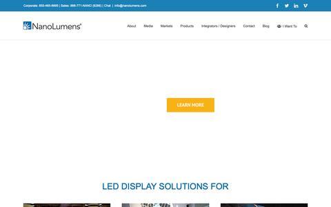 Screenshot of Home Page nanolumens.com - LED Displays for Indoor and Outdoor - NanoLumens   Video Walls - captured Feb. 13, 2019