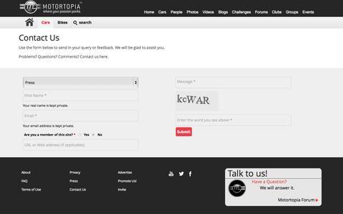Screenshot of Press Page motortopia.com - Contact Us - captured Sept. 23, 2015