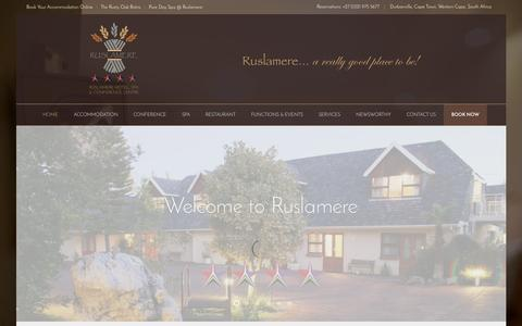 Screenshot of Home Page ruslamere.co.za - Home | Ruslamere - Hotel, Spa and Conference Centre in Durbanville - captured Aug. 12, 2015