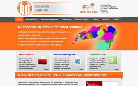 Screenshot of Home Page bureautech.co.uk - Bureautech Digital Ltd - captured Oct. 5, 2014