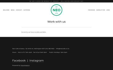 Screenshot of Jobs Page neocafe.co.nz - Jobs — Neo Cafe & Eatery - captured Jan. 19, 2018