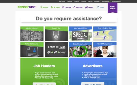 Screenshot of Contact Page careerone.com.au - Find Jobs. Build a Better Career. Find Your Calling.   CareerOne.com.au - captured Sept. 18, 2014