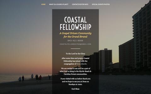 Screenshot of Home Page coastalfellowship.com - Coastal Fellowship - captured Oct. 3, 2014