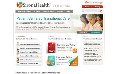 Screenshot of Home Page sironahealth.com - Transitional Care | Health Call Center | SironaHealth - captured Sept. 19, 2014