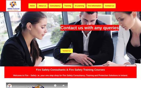 Screenshot of Home Page fire-safety.ie - Fire Consultants, Fire Training Dublin - Fire Courses,  Fire Audit, Fire Risk Assessment Ireland - captured Oct. 10, 2018
